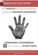 Permanence téléphonique des avocats du barreau de Niort pour les victimes de violences conjugales